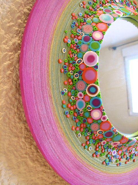 mirror with polyclay decoration. By fperezajates, aka Fabi