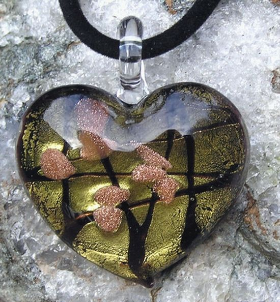 Beautiful Gold Heart Glass Pendant  Special Offer by SunnyCrystals, £5.75 #jewelry #jewellery #pendant #heart #glass
