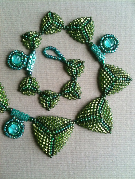 Green Aqua Peacock Triangle Necklace.  Seed bead woven, bead embroidery by Jeka Lambert.  Glass beads, seed beads.