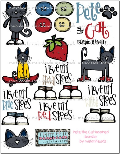 Pete the cat clip art on etsy