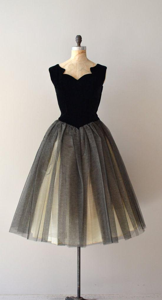 1950's divine velvet & tulle dress