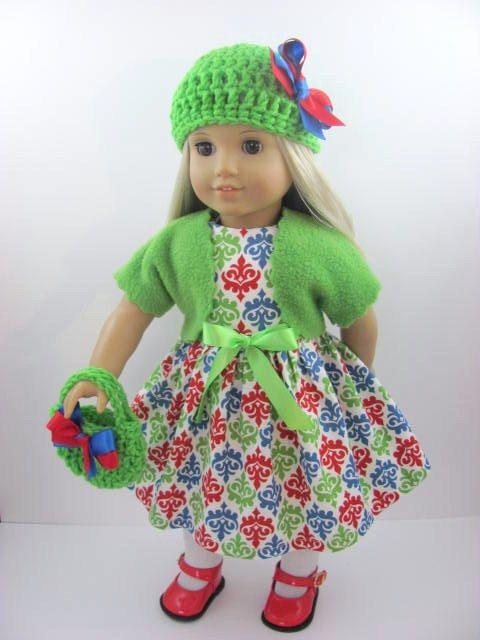Fleur De Lis Doll Dress, Sash, Shrug, Hat, and Handbag for the American Girl Doll
