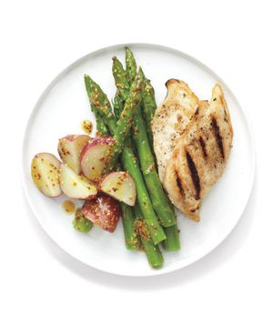 Grilled Chicken and Spring Vegetables recipe from realsimple.com #myplate #protein #vegetables