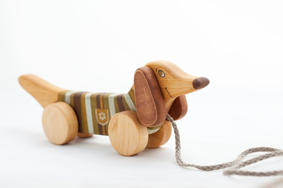 Wooden Toy pull toy a Green Dog eco friendly natural kids toy. $27.00, via Etsy.