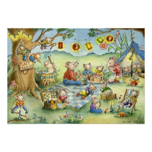 Family Mouse Summer Picnic Poster