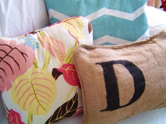 Monogrammed Pillow...using spray paint and Glad Press 'N Seal