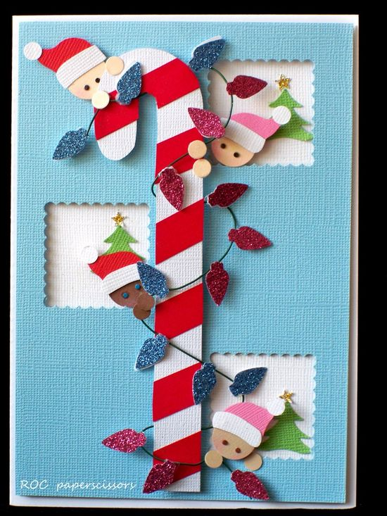Very cute candy cane and elves from Rosa O Clifford!  Beautiful!