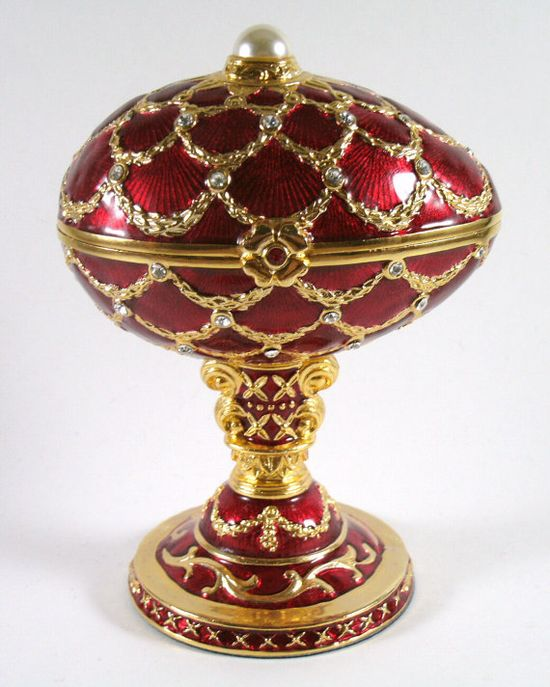 Red with Gold Lattice Faberge Egg