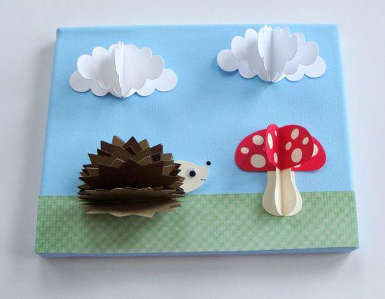 Original Hedgehog and mushroom 3D Paper Wall Art by goshandgolly