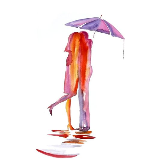 Abstract Love red umbrella watercolor painting Love by fairysomnia, $65.00