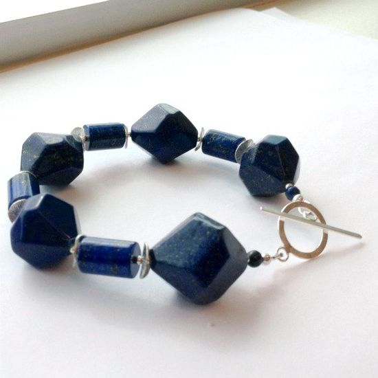 Navy Blue Bracelet Sterling Silver Jewelry by jewelrybycarmal, $85.00