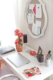 Home office idea.  Cute old mirror idea!