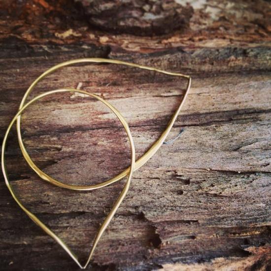 Brass Lotus Tear Drop Bangle Set by GramercyEight on Etsy