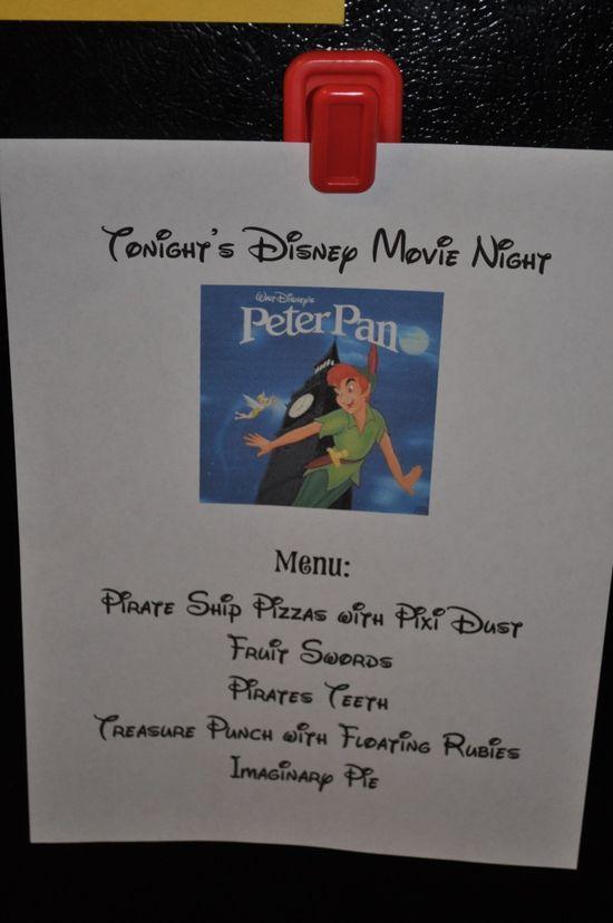 disney movie night ideas... Menu ideas to go with each movie