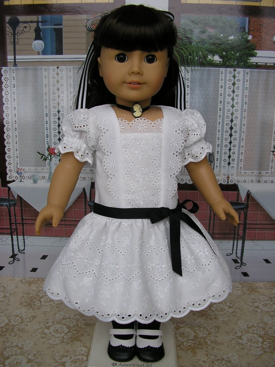 American Girl early 1900s eyelet dress, shoes, necklace and hairbow. $95.00, via Etsy.
