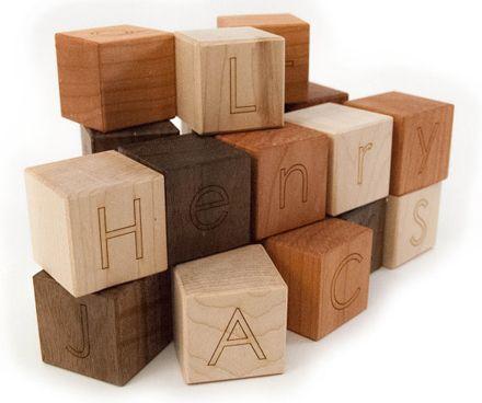 Personalized wooden blocks, alphabet letter baby toys modern wood name blocks by Etsy seller littlesaplingtoys