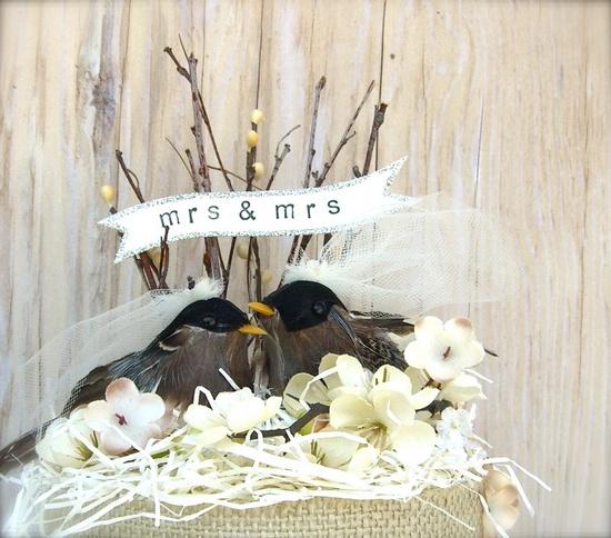 Same Sex Cake Topper , Bird Cake Topper , Lesbian Couple ,  LGBT Wedding , Custom Banner. $68.00, via Etsy.