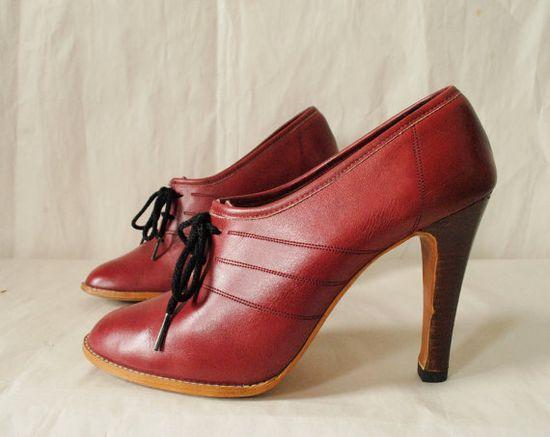 Vintage Platform Leather Lace Up Oxfords