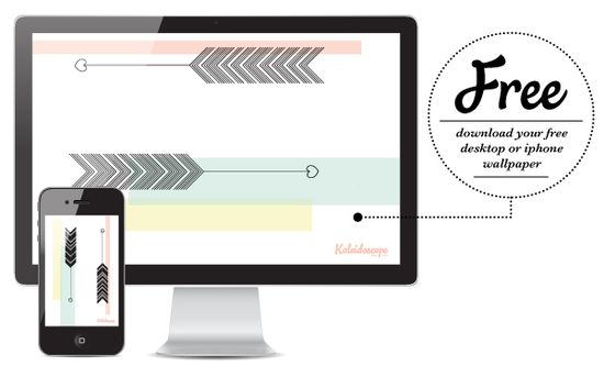 September Desktop and iPhone Wallpaper // Free Download [pastel, pink green, yellow, arrows, hearts, imac, computer, download] Kaleidoscope Blog