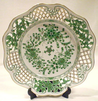 Herend Waldstein green pierced work decorative plate