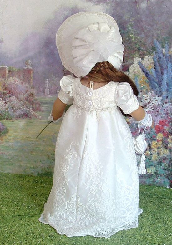 Lady Jane Silk Regency Gown and Bonnet for by MyGirlClothingCoHeir, $125.00