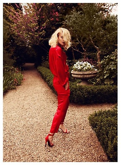- Bright red, glam all over. -