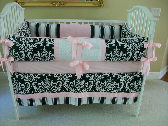 Black and white and pink Baby Bedding set. $169.00, via Etsy.