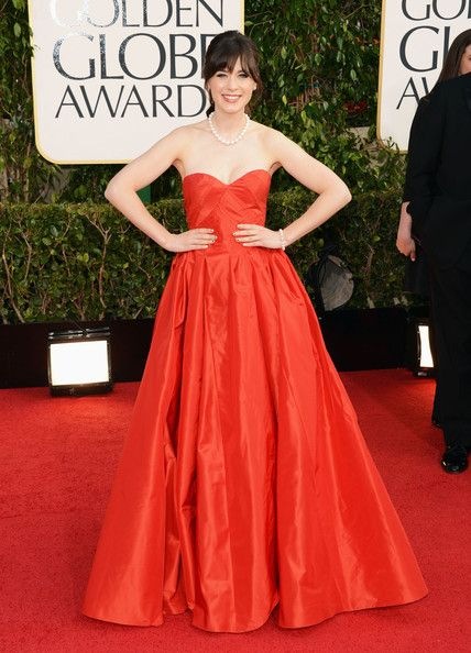 Zooey Deschanel at the 2013 Golden Globes - coral