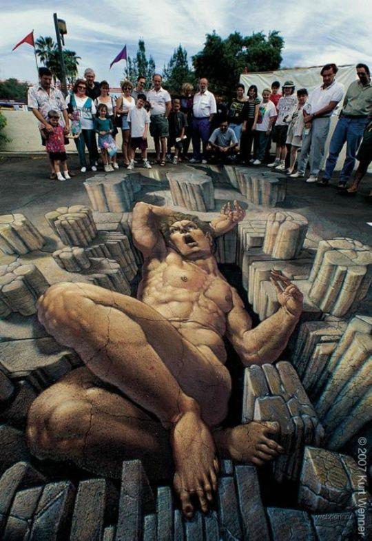 Pseudo 3d Chalk Street Art