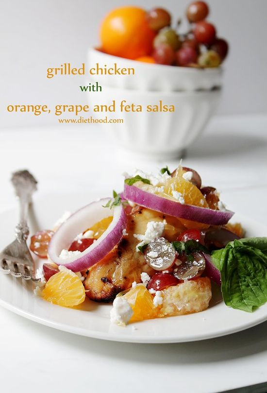 Grilled Chicken with Orange, Grape and Feta Salsa