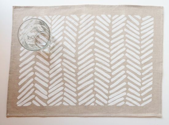 pretty linen chevron tea towel