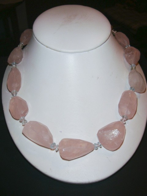20 inch Rose Quartz couture necklace by PaganCellarJewelry on Etsy, $69.99