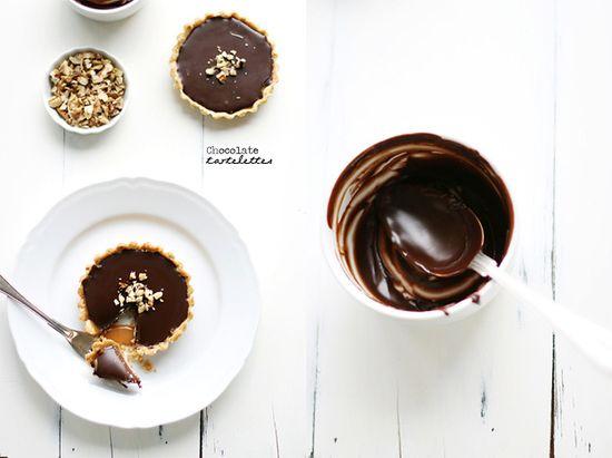 Utterly delicious Walnut Caramel Chocolate Ganache Tartlettes. #caramel #tarts #pastry #tartlettes #dessert #baking #food #ganache #walnuts