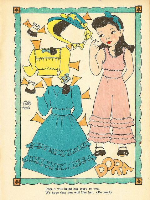 Vintage Paper Doll, Dora by shelece, via Flickr