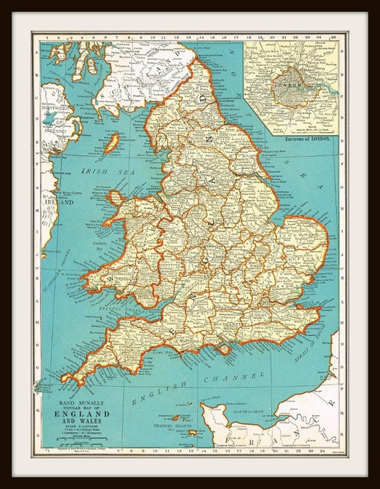 Antique 1935 Map ENGLAND & SCOTLAND by KnickofTime