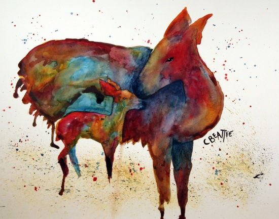 a mother's love - original watercolor painting by artist connie beattie