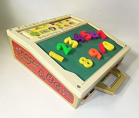 I TOTALLY HAD THIS TOY! I stole so much chalk from school XD Fisher Price School Desk, played with this until the chalkboard was stained yellow and half the magnets had disappeared. #Fisher_Price #toys #1970s #1980s #1990s #nostalgia #childhood #retro