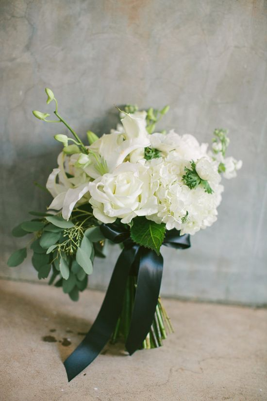 white + green wedding bouquets // photo by The Photography of Haley Sheffield