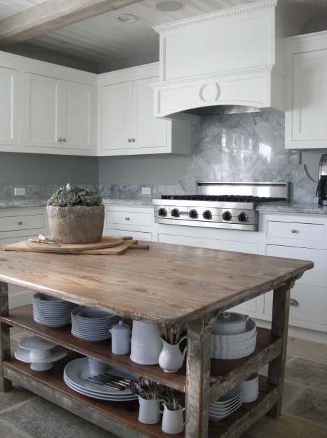 kitchens - beadboard ceiling reclaimed wood chunky kitchen island stone floor white shaker kitchen cabinets marble countertops backsplash steel gray blue walls