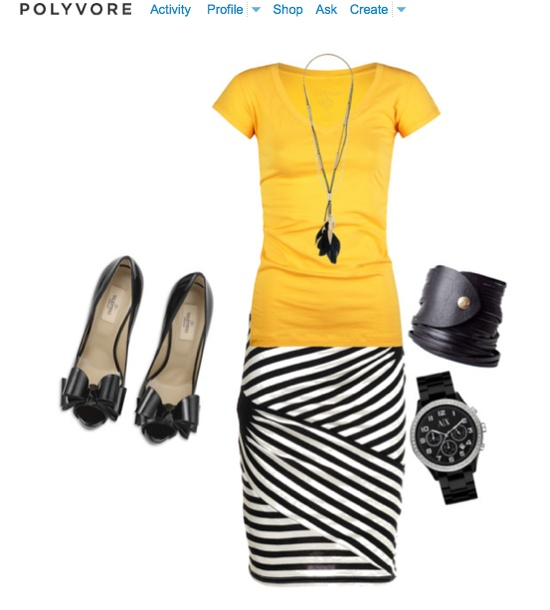yellow shirt and black striped skirt!