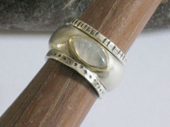 Stackable Moonstone silver  and gold ring, handmade jewelry design, Gemstone ring