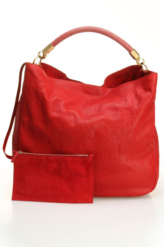 YSL Large Roady Hobo Leather Handbag In Red