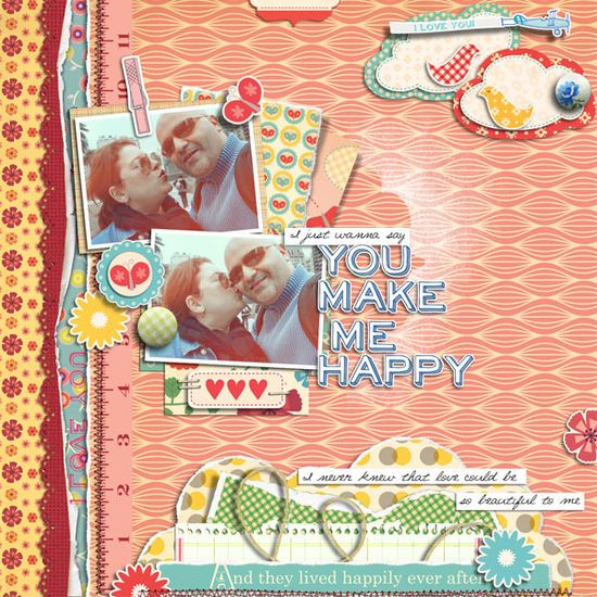 you make me happy scrapbook page