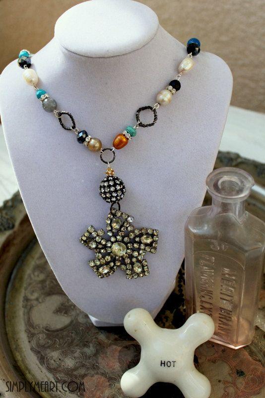 Vintage rhinestone, pearl and gemstone Necklace