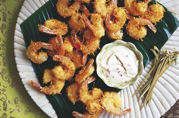Drooling much? Coconut coated prawns with chilli lime mayonnaise! Taste.com.au