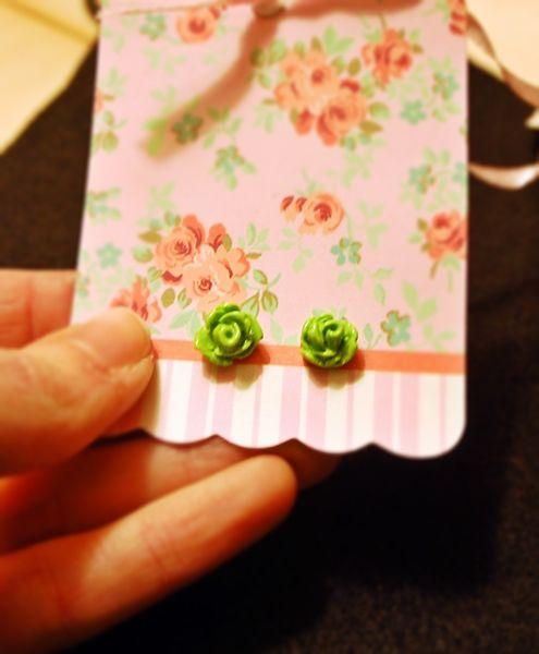 Adorable mini green handmade rose earrings!