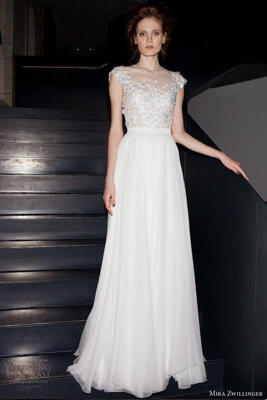 mira zwillinger 2014 bridal sira wedding dress cap sleeves illusion