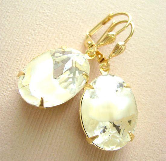 Champagne Beige Earrings Gold estate style by RachellesJewelryBox
