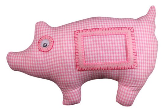Pink pig Furry Frame / stuffed animal / picture frame