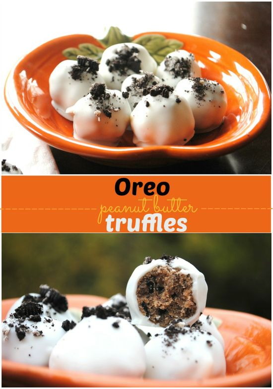 Oreo Peanut Butter Truffles: filled with crushed cookies, cream cheese, nutella and peanut butter www.shugarysweets...